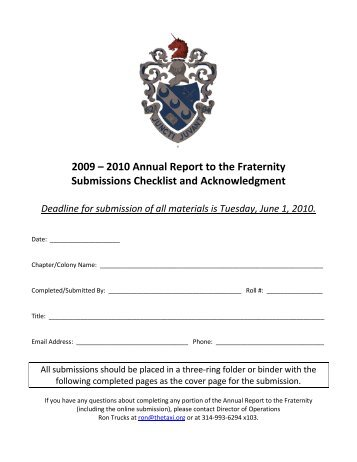 Acknowledgment Page and Submission Checklist - Theta Xi Fraternity