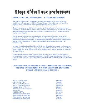 Palmarès stages 2011 et 2012 - Athénée Royal de Péruwelz