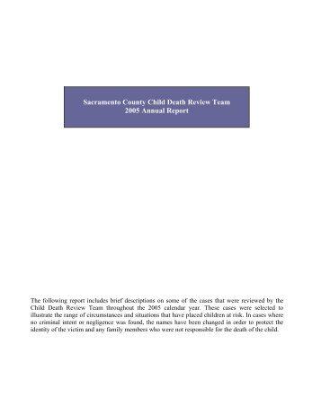2005 Child Death Review Team Report (pdf) - Capital Public Radio