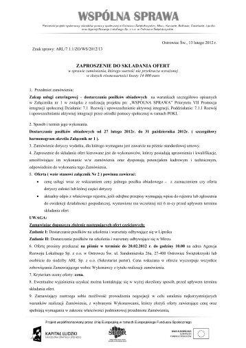 zaproszenie do składania ofert - Agencja Rozwoju Lokalnego w ...