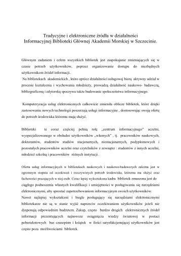 Tradycyjne i elektroniczne źródła w działalności Informacyjnej ...