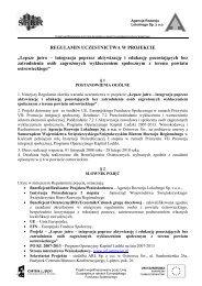 REGULAMIN UCZESTNICTWA W PROJEKCIE - Agencja Rozwoju ...