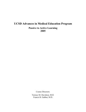 UCSD Advances in Medical Education Program - UCSD Continuing ...