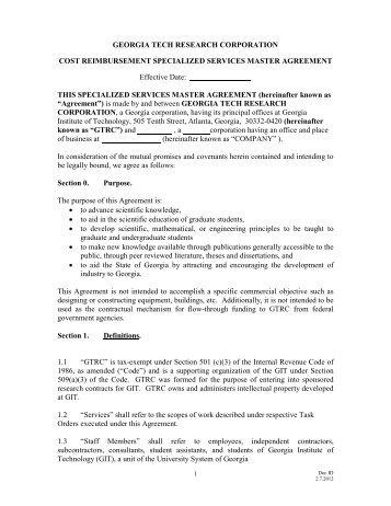 cost reimbursement specialized services master agreementlink