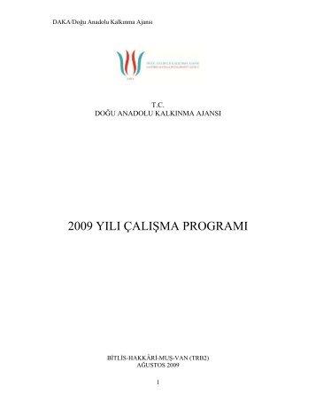 2009 yılı çalışma programı - Doğu Anadolu Kalkınma Ajansı