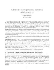 5. Izometrie liniowe przestrzeni unitarnych niskich wymiarów