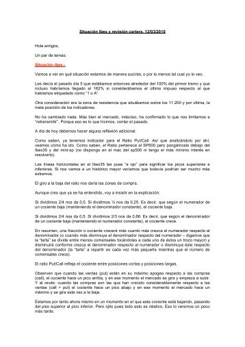 Situación Ibex y revisión cartera. 12/03/2010 Hola amigos ... - Jrbolsa