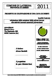Valutazione emissione polveri - Comune di Laterina