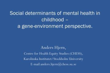 Social Determinants of Mental Health in Childhood