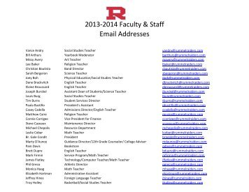 2013-2014 Faculty & Staff Email Addresses