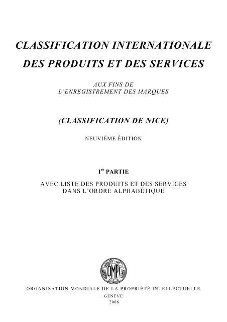Classification De Nice 9e édition Swissberg