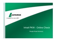 2. Qualifikation und Auswahl der Fahrer - Lafarge Sicherheits-Check
