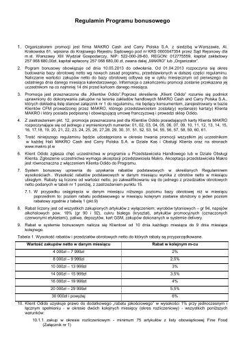 Regulamin programu bonusowego - ODIDO - Makro