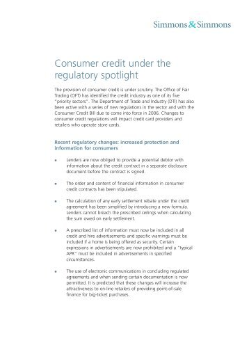 Consumer credit under the regulatory spotlight