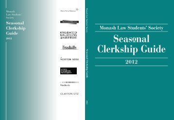 Monash Law Students' Society Seasonal Clerkship Guide 2012