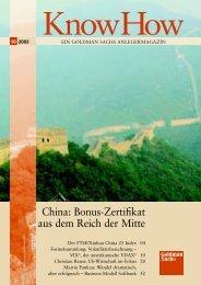 China: Bonus-Zertifikat aus dem Reich  der Mitte - Goldman Sachs