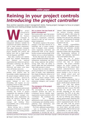 May 2007- Reining in your project controls - ACostE
