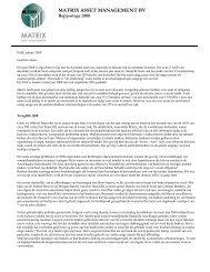 31 december 2008 - Matrix Asset Management BV
