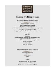 Sample Wedding Menus rehearsal dinner menu ... - The Hermosa Inn