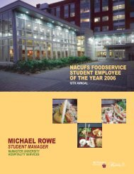 NACUFS Student Award 2006 McMaster.indd - Hospitality Services