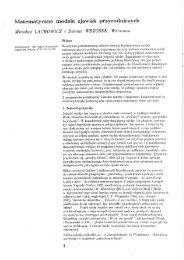 Matematyczne modele zjawisk przyrodniczych - Szkoła Matematyki ...