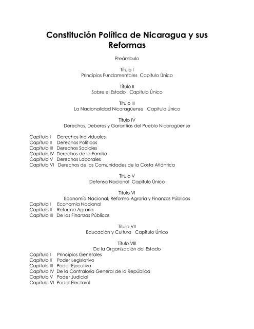 Constituciã N Polãtica De Nicaragua Y Sus Reformas Cosep