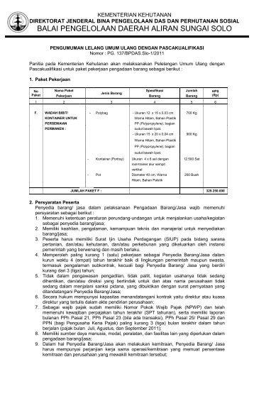 Pengumuman Lelang Umum Ulang (Paket F) - BPDAS Solo