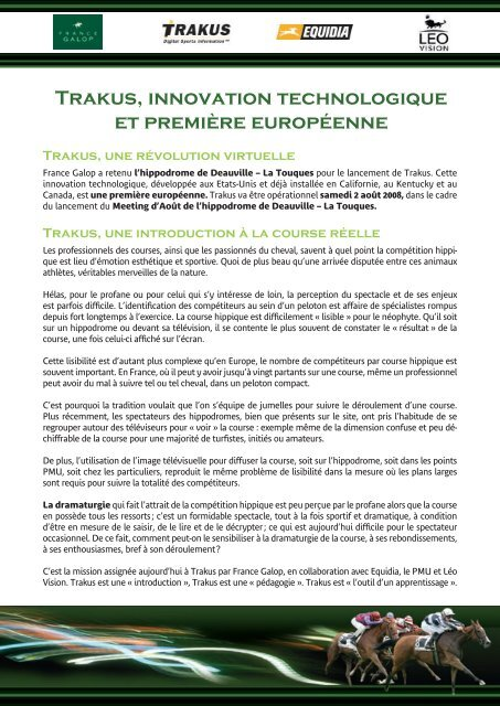 Trakus, innovation technologique et première     - France Galop