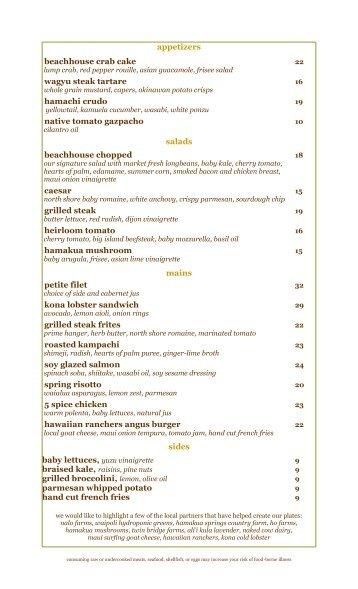 beachhouse tea and lunch menu - english (Read ... - Moana ...