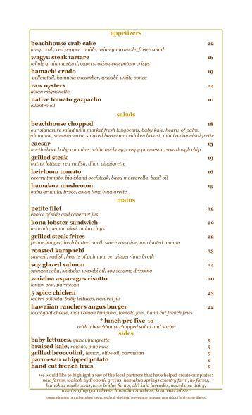 appetizers raw oysters beachhouse crab cake ... - Moana ...