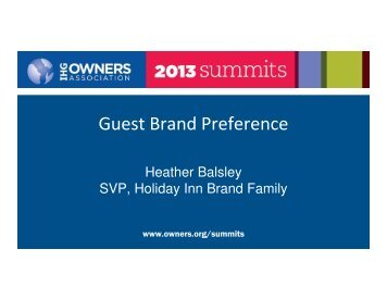 Guest Brand Preference - IHG Owners Association