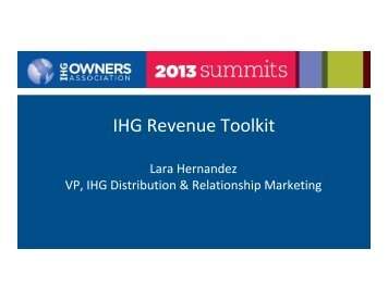 IHG Revenue Tools - IHG Owners Association