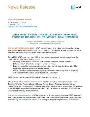 AT&T Capital Expenditures over $700 million in San Diego - Gable PR