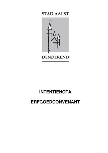 INTENTIENOTA ERFGOEDCONVENANT - Erfgoedcel Aalst