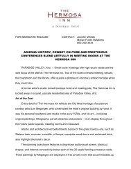 FOR IMMEDIATE RELEASE CONTACT: Jennifer ... - The Hermosa Inn