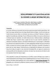 développement et plan d'évaluation du dossier clinique ... - Prisma