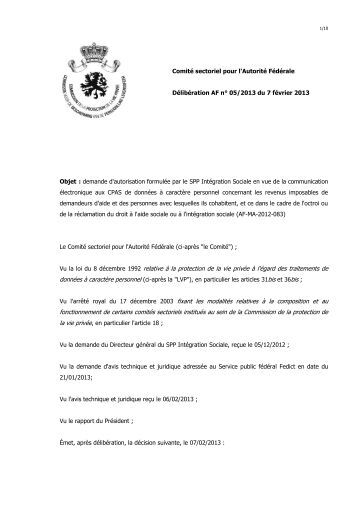 Demande d'autorisation formulée par le SPP Intégration Sociale en ...