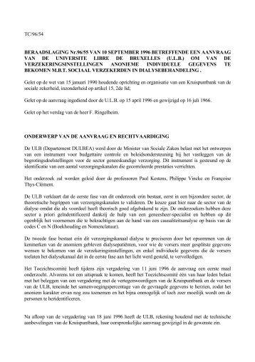 Beraadslaging nr 13 007 van 22 januari 2013 met for Chambre sociale 13 novembre 1996