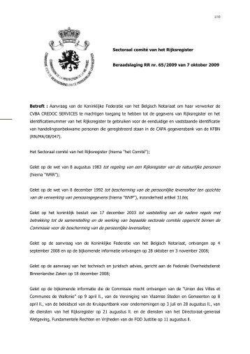Aanvraag van de Koninklijke Federatie van het Belgisch Notariaat ...
