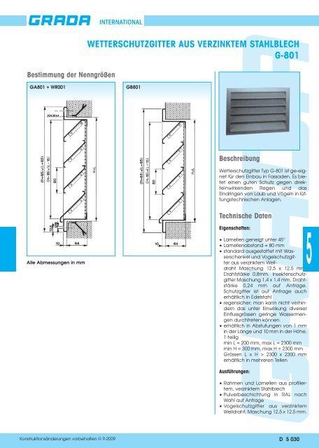 wetterschutzgitter aus verzinktem stahlblech g-801 - Grada.be