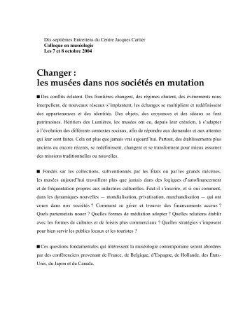 Changer : les musées dans nos sociétés en ... - Pointe-à-Callière