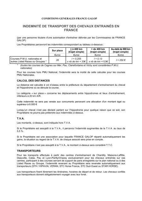INDEMNITÉ DE TRANSPORT DES CHEVAUX     - France Galop