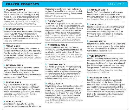 Prayer Requests - Precept Ministries International | Bible