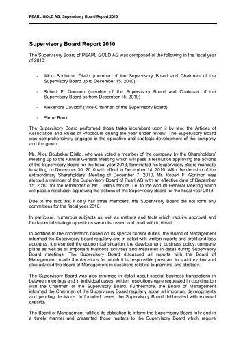 Bericht des Aufsichtsrats - Pearl Gold AG