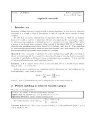 Algebraic methods 1 Introduction 2 Perfect matching in balanced ...