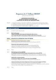 Programme du 3 Colloque PRISMA