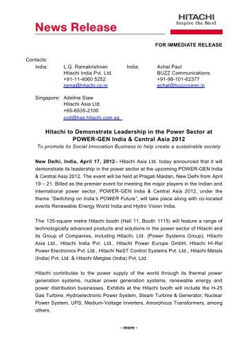Publication embargo – 10:00 am 2nd October ... - Hitachi Singapore