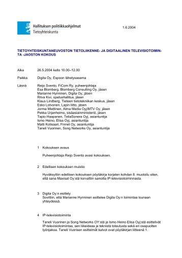 1.6.2004 TIETOYHTEISKUNTANEUVOSTON TIETOLIIKENNE- JA ...