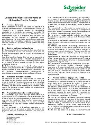 Conozca las condiciones generales de venta - Schneider Electric