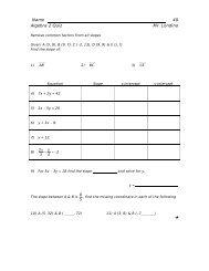 Name 40 Algebra 2 Quiz Mr. Londino - What Not How